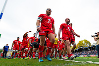 Toulouse players make their way off the field at the end of the pre-match warm-up. Heineken Champions Cup match, between Bath Rugby and Stade Toulousain on October 13, 2018 at the Recreation Ground in Bath, England. Photo by: Patrick Khachfe / Onside Images