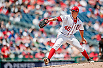 1 August 2018: Washington Nationals pitcher Tommy Milone on the mound against the New York Mets at Nationals Park in Washington, DC. The Nationals defeated the Mets 5-3 to sweep the 2-game weekday series. Mandatory Credit: Ed Wolfstein Photo *** RAW (NEF) Image File Available ***