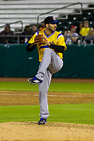 Biloxi Shuckers pitcher Javier Salas (44) during a Southern League game against the Tennessee Smokies on May 25, 2017 at Smokies Stadium in Kodak, Tennessee.  Tennessee defeated Biloxi 10-4. (Brad Krause/Krause Sports Photography)