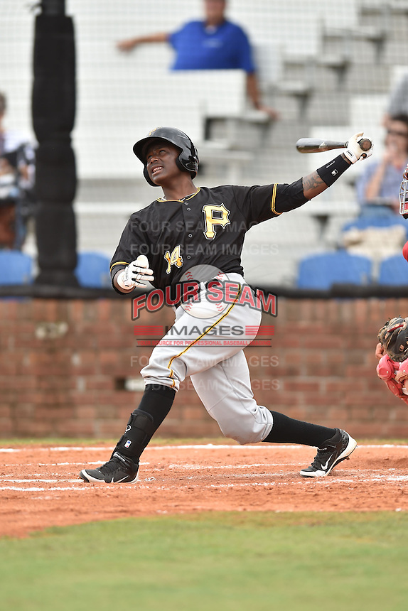 Bristol Pirates designated hitter Maximo Rivera #14 swings at a pitch during a game against the Johnson City Cardinals at Howard Johnson Field July 20, 2014 in Johnson City, Tennessee. The Pirates defeated the Cardinals 4-3. (Tony Farlow/Four Seam Images)