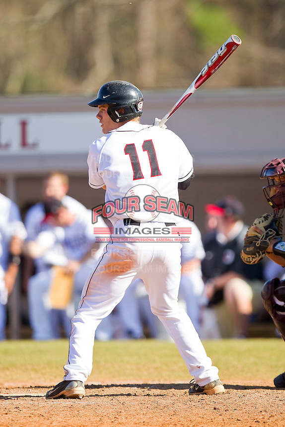 James Cerbie #11 of the Davidson Wildcats at bat against the College of Charleston Cougars at Wilson Field on March 12, 2011 in Davidson, North Carolina.  The Wildcats defeated the Cougars 8-3.  Photo by Brian Westerholt / Four Seam Images