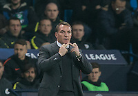 Celtic Manager Brendan Rogers puts 2 middles fingers up during the UEFA Champions League GROUP match between Manchester City and Celtic at the Etihad Stadium, Manchester, England on 6 December 2016. Photo by Andy Rowland.