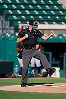 Home plate umpire Nathan Diederich calls strike three during a Florida Instructional League game between the Pittsburgh Pirates and the Detroit Tigers on October 6, 2018 at Joker Marchant Stadium in Lakeland, Florida.  (Mike Janes/Four Seam Images)