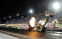 Jun. 29, 2012; Joliet, IL, USA: NHRA top fuel dragster driver Shawn Langdon during qualifying for the Route 66 Nationals at Route 66 Raceway. Mandatory Credit: Justin Tooley-