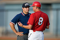 Johnson City Cardinals manager Mike Shildt #8 discusses a close call at first base with umpire Lawrence Reeves at Howard Johnson Field August 1, 2009 in Johnson City, Tennessee. (Photo by Brian Westerholt / Four Seam Images)