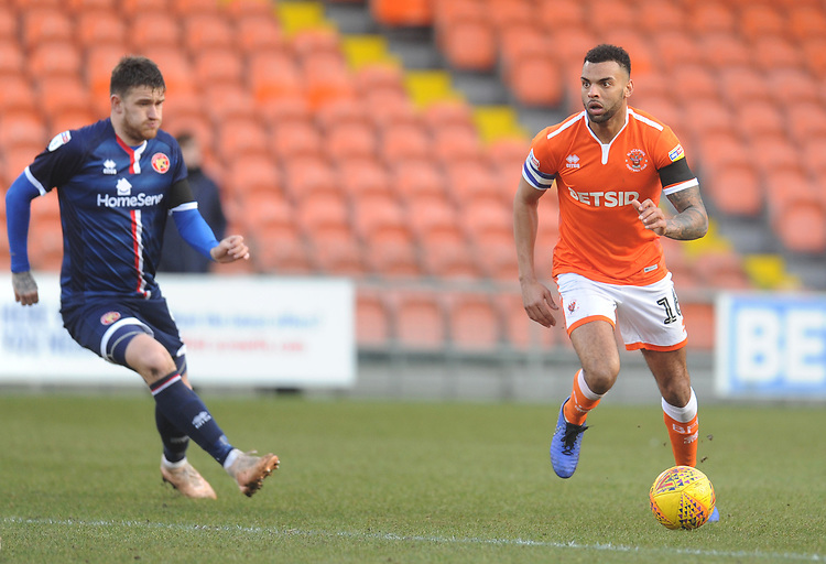 Blackpool's Curtis Tilt under pressure from Walsall's Andy Cook<br /> <br /> Photographer Kevin Barnes/CameraSport<br /> <br /> The EFL Sky Bet League One - Blackpool v Walsall - Saturday 9th February 2019 - Bloomfield Road - Blackpool<br /> <br /> World Copyright © 2019 CameraSport. All rights reserved. 43 Linden Ave. Countesthorpe. Leicester. England. LE8 5PG - Tel: +44 (0) 116 277 4147 - admin@camerasport.com - www.camerasport.com
