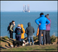 Controversial drilling rig off holiday beaches in Dorset.