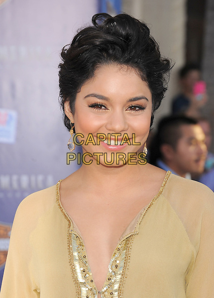 "Vanessa Hudgens.Premiere of ""Captain America: The First Avenger"" held at The El Capitan Theatre in Hollywood, California, USA..July 19th, 2011                                                                                .headshot portrait yellow gold beige sheer short cropped hair smiling dangling earrings sequins sequined .CAP/RKE/DVS.©DVS/RockinExposures/Capital Pictures."