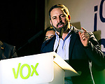 Spanish far-right VOX party leader and candidate for prime minister Santiago Abascal delivers a speech during the election night rally in Madrid after Spain held general elections on April 28, 2019 in Madrid, Spain. (ALTERPHOTOS/Alconada).