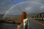rainbow and Russian River birdge at Cloverdale