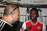Arsenal's Eddie Nketiah speaks to the press during the Arsenal FC 2019-20 Adidas Home Kit Launch at the Armoury Shop, Emirates Stadium on 1st July 2019
