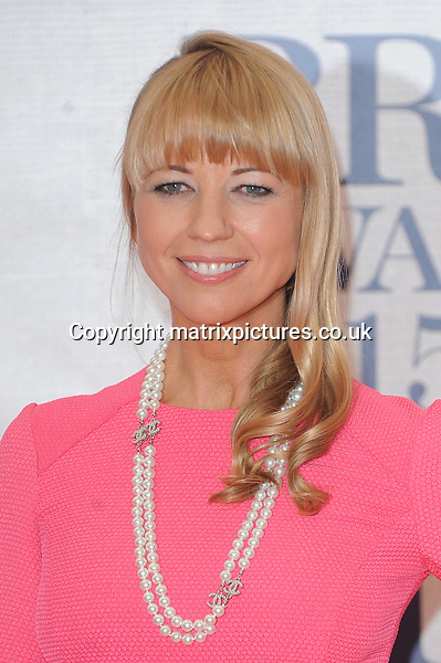 NON EXCLUSIVE PICTURE: PAUL TREADWAY / MATRIXPICTURES.CO.UK<br /> PLEASE CREDIT ALL USES<br /> <br /> WORLD RIGHTS<br /> <br /> English presenter Sara Cox attending the BRIT Awards 2015 at the O2 Arena, in London.<br /> <br /> FEBRUARY 25th 2015<br /> <br /> REF: PTY 15627