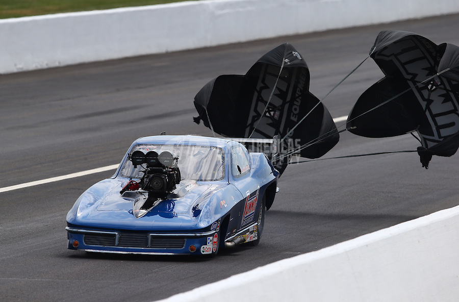 Aug. 31, 2013; Clermont, IN, USA: NHRA pro mod driver Kenny Lang during qualifying for the US Nationals at Lucas Oil Raceway. Mandatory Credit: Mark J. Rebilas-