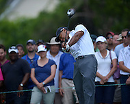 Bethesda, MD - June 27, 2014: Tiger Woods tees off on hole 3 in the second round of the Quicken Loans National at the Congressional Country Club in Bethesda, MD, June 27, 2014. The tournament was Woods first since he underwent back surgery earlier in the year. He finished the round at +4, missing the cut. (Photo by Don Baxter/Media Images International)