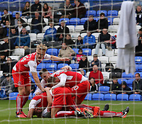 Fleetwood Town's Ashley Eastham is mobbed after making it 2-0<br /> <br /> Photographer David Shipman/CameraSport<br /> <br /> The EFL Sky Bet League One - Peterborough United v Fleetwood Town - Friday 14th April 2016 - ABAX Stadium  - Peterborough<br /> <br /> World Copyright &copy; 2017 CameraSport. All rights reserved. 43 Linden Ave. Countesthorpe. Leicester. England. LE8 5PG - Tel: +44 (0) 116 277 4147 - admin@camerasport.com - www.camerasport.com