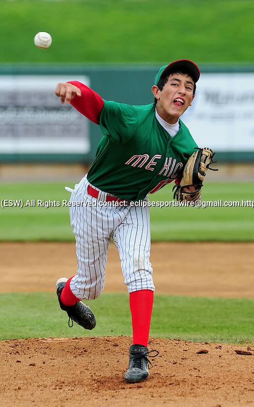 22 August 2009:  Mexico's Norman Mendoza pitches as Forest Hills, FL defeats Mexico 7-6 to win the Cal Ripken World Series in Aberdeen, Maryland