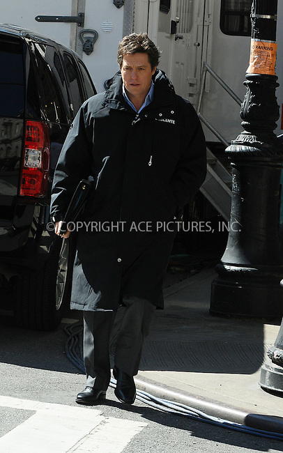 WWW.ACEPIXS.COM . . . . .  ....March 23 2009, New York City....Actor Hugh Grant walks to the Manhattan set of the new movie 'Did you hear about the Morgans?' on March 23 2009 in New York City....Please byline: AJ Sokalner - ACEPIXS.COM..... *** ***..Ace Pictures, Inc:  ..tel: (212) 243 8787..e-mail: info@acepixs.com..web: http://www.acepixs.com