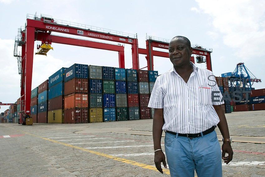 Abidjan Terminal Technical Manager Etienne Memevegni poses for a photograph in Abidjan Container Terminal, in Abidjan, Ivory Coast, on November 3, 2010. Photo by Lucas Schifres/Pictobank