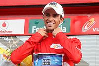Alberto Contador with the red jersey of leader after the stage of La Vuelta 2012 beetwen Penafiel-La Lastrilla.September 7,2012. (ALTERPHOTOS/Paola Otero) /NortePhoto.com<br /> <br /> **CREDITO*OBLIGATORIO** *No*Venta*A*Terceros*<br /> *No*Sale*So*third* ***No*Se*Permite*Hacer Archivo***No*Sale*So*third