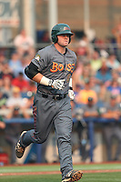 Nate Causey (6) of the Boise Hawks runs to first base during a game against the Hillsboro Hops at Ron Tonkin Field on August 22, 2015 in Hillsboro, Oregon. Boise defeated Hillsboro, 6-4. (Larry Goren/Four Seam Images)