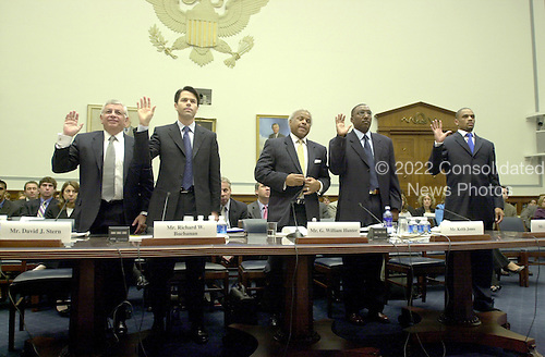 """Washington, D.C. - May 19, 2005 -- Panel is sworn-in to give testimony before the United States House of Representatives Committee on Government Reform on """"Steroid Use in Sports Part III: Examining the National Basketball Association's (NBA) Steroid Testing Program""""  in Washington, D.C. on May 17, 2005.  From left to right: David J. Stern, Commissioner, NBA; Richard W. Buchanan, Senior Vice President and General Counsel, NBA; G. William Hunter, Executive Director, National Basketball Players Association; Keith Jones, Athletic Trainer, Houston Rockets; and Juan Dixon, Player, Washington Wizards..Credit: Ron Sachs / CNP..(RESTRICTION: NO New York or New Jersey Newspapers or newspapers within a 75 mile radius of New York City)"""