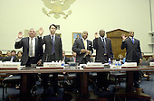 "Washington, D.C. - May 19, 2005 -- Panel is sworn-in to give testimony before the United States House of Representatives Committee on Government Reform on ""Steroid Use in Sports Part III: Examining the National Basketball Association's (NBA) Steroid Testing Program""  in Washington, D.C. on May 17, 2005.  From left to right: David J. Stern, Commissioner, NBA; Richard W. Buchanan, Senior Vice President and General Counsel, NBA; G. William Hunter, Executive Director, National Basketball Players Association; Keith Jones, Athletic Trainer, Houston Rockets; and Juan Dixon, Player, Washington Wizards..Credit: Ron Sachs / CNP..(RESTRICTION: NO New York or New Jersey Newspapers or newspapers within a 75 mile radius of New York City)"