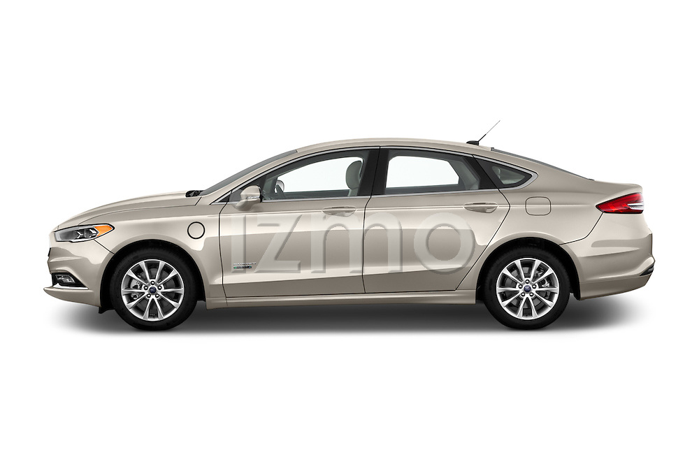 Car Driver side profile view of a 2017 Ford Fusion Energi Plug-In Hybrid SE Luxury 4 Door Sedan Side View