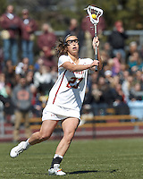 Boston College midfielder Cali Ceglarski (23) passes the ball. Boston College (white) defeated Duke University (blue), 10-9, on the Newton Campus Lacrosse Field at Boston College, on April 6, 2013.