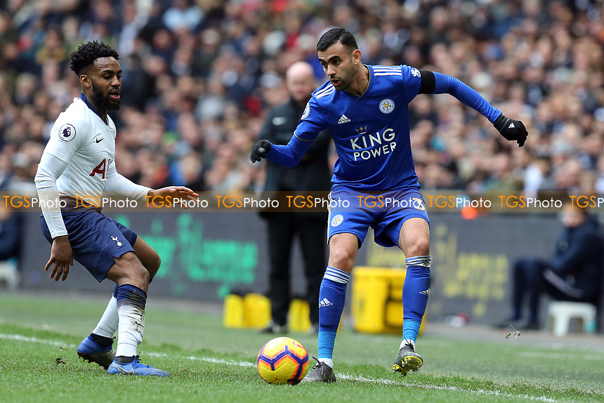 Rachid Ghezzal of Leicester City and Danny Rose of Tottenham Hotspur during Tottenham Hotspur vs Leicester City, Premier League Football at Wembley Stadium on 10th February 2019