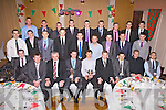 The St Michaels/Foilmore team South Kerry League & Championship winners 2012 pictured at the Club's Dinner Dance in the Ring of Kerry Hotel on Saturday night last front l-r; Brian Smith, Tom 'The Smith' O'Sullivan Trainer/Manager, Dan Tim O'Sullivan(Sponsor), Kieran Cronin(Trainer), Brian Galvin(Captain), Colin Grandfield - Chairman, Ronan O'Connor, Sean O'Connor, Emmett Curran, middle l-r; Sean O'Shea, Bernard Kelly, Damien Kelly, Padraig King, Adrian O'Connell, Brendan Galvin(Selector), Alan Smith, Cian O'Connor, Daragh Scanlon, back l-r; Sean Fogarty, Christopher O'Sullivan, James Moran, Daragh O'Sullivan, Mark Griffin, Daren O'Sullivan, Kieran O'Shea, Eana O'Connor & Cormac O'Sullivan.