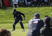 Justin Thomas (Team USA) sinks winning putt on the 17th during Saturday's Fourballs, at the Ryder Cup, Le Golf National, &Icirc;le-de-France, France. 29/09/2018.<br /> Picture David Lloyd / Golffile.ie<br /> <br /> All photo usage must carry mandatory copyright credit (&copy; Golffile | David Lloyd)