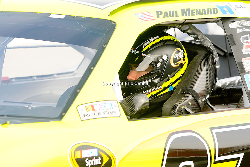 September 22, 2012 Sprint Cup Series driver Paul Menard (27) during the Sylvania 300 practice session at New Hampshire Motor Speedway in Loudon, New Hampshire.  Eric Canha/CSM
