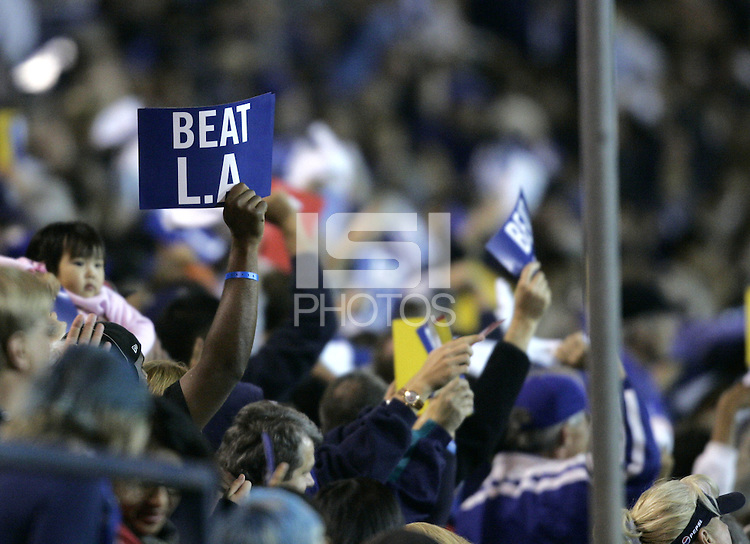 "29 October 2005: Earthquakes' fan holds a sign says ""Beat LA"" during the first half of the game between Earthquakes vs Galaxy at Spartan Stadium in San Jose, California.   Earthquakes is leading LA Galaxy, 1-0 at halftime."