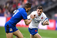 9th February 20020, Stade de France, Paris, France; 6-Nations international mens rugby union, France versus Italy;  Arthur Vincent (France ) tackled by Mattia Bellini (Italy ) -