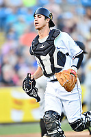 Asheville Tourists catcher Campbell Wear (35) during a game against the West Virginia Power at McCormick Field on May 10, 2017 in Asheville, North Carolina. The Tourists defeated the Power 4-3. (Tony Farlow/Four Seam Images)