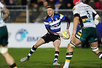 Rhys Priestland of Bath Rugby looks to pass the ball. Aviva Premiership match, between Bath Rugby and Northampton Saints on February 10, 2017 at the Recreation Ground in Bath, England. Photo by: Patrick Khachfe / Onside Images