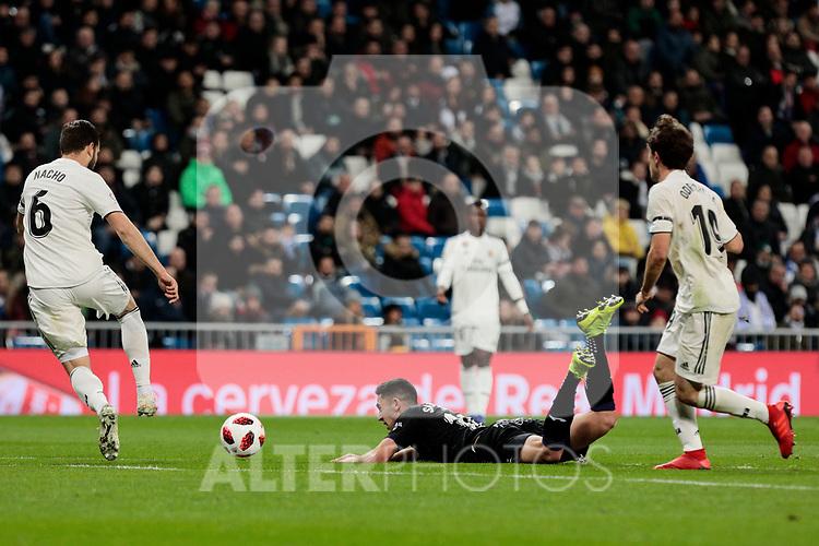 Real Madrid's Nacho Fernandez (L) and Alvaro Odriozola (R) and CD Leganes's Sabin Merino during Copa Del Rey match between Real Madrid and CD Leganes at Santiago Bernabeu Stadium in Madrid, Spain. January 09, 2019. (ALTERPHOTOS/A. Perez Meca)<br />  (ALTERPHOTOS/A. Perez Meca)