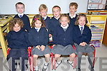 Scoil Naomh Eirc, Baile An Mho?raigh, Junior Infants pupils enjoying their first day at school on Thursday. Front from left: Aoife Nic Gearailt, Fiadh Ni? Chinne?ide, Beth Ni? Bhambaire, Katie Nic Gearailt. Back from left: Diarmuid O? Ciardhubhain, Seamus Mac Gearailt, Cathal O? Fearghail, Cian Mac Gearailt.
