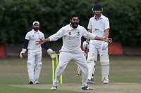 Zeeshan of Noak Hill claims the wicket of Sylvester during Noak Hill Taverners CC (fielding) vs Burnham Sports CC, T Rippon Mid Essex Cricket League Cricket at Church Road on 6th July 2019