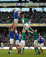 Sunday10th March 2019 | Ireland vs France<br /> <br /> Felix Lambey wins this lineout for France during the Guinness 6 Nations clash between Ireland and France at the Aviva Stadium, Lansdowne Road, Dublin, Ireland. Photo by John Dickson / DICKSONDIGITAL