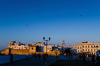 Sunset. Essaouira is a city on the Moroccan Atlantic coast. Fortress walls originally enclosed the entire city.