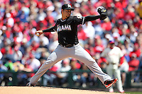 Miami Marlins pitcher Anibal Sanchez #19 during a game against the Philadelphia Phillies at Citizens Bank Park on April 9, 2012 in Philadelphia, Pennsylvania.  Miami defeated Philadelphia 6-2.  (Mike Janes/Four Seam Images)