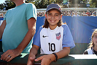 Cary, NC - Sunday October 22, 2017: U.S. fan prior to an International friendly match between the Women's National teams of the United States (USA) and South Korea (KOR) at Sahlen's Stadium at WakeMed Soccer Park. The U.S. won the game 6-0.