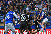 1st October 2017, Hillsborough, Sheffield, England; EFL Championship football, Sheffield Wednesday versus Leeds United; Tom Lees of Sheffield Wednesday heads on goal but its saved