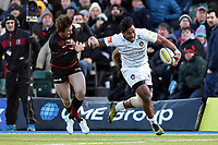 Manu Tuilagi of Leicester Tigers fends Marcelo Bosch of Saracens. Aviva Premiership match, between Saracens and Leicester Tigers on February 25, 2018 at Allianz Park in London, England. Photo by: Patrick Khachfe / JMP