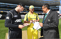 Captains Kane Williamson andAaron Finch with ICC match referee Ranjan Madugalle. International One Day Cricket. Chappell–Hadlee Trophy, Game 1. Eden Park Monday 30 January 2017 © Copyright photo: Andrew Cornaga / www.photosport.nz