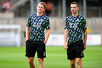 (L-R) George Byers and Bersant Celina of Swansea City arrive for the pre-season friendly match between Bristol Rovers and Swansea City at The Memorial Stadium in Bristol, England, UK. Tuesday, 23 July 2019