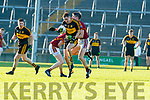 Brian Looney Dr Crokes in action against Colin Hehir and Gordon Kelly St Joseph's Miltown Malbay during the AIB Munster GAA Football Senior Club Championship Final match between Dr. Crokes and St. Josephs Miltown Malbay at the Gaelic Grounds in Limerick on Sunday.