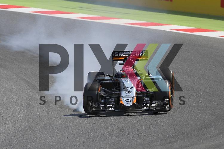 Barcelona, 10.05.15, Motorsport, Formel 1 GP Spanien 2015, Qualifying : Verbremser vor Kurve 1, Nico Hulkenberg (Force India VJM08, #27)<br /> <br /> Foto &copy; P-I-X.org *** Foto ist honorarpflichtig! *** Auf Anfrage in hoeherer Qualitaet/Aufloesung. Belegexemplar erbeten. Veroeffentlichung ausschliesslich fuer journalistisch-publizistische Zwecke. For editorial use only.