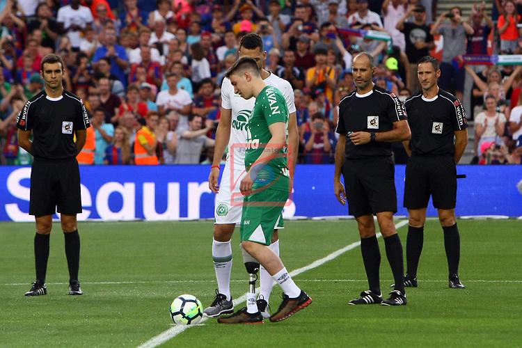 52e Trofeu Joan Gamper.<br /> FC Barcelona vs Chapecoense: 5-0.<br /> Jackson Follman &amp; Helio Neto.
